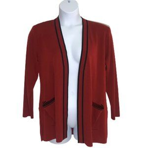 Exclusively Misook Open Front Cardigan Pockets Red